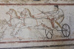 charioteer horses painted tomb slab detail national