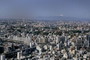 City skyline with Mount Fuji beyond