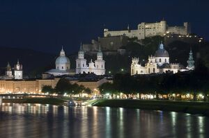 Cityscape with River Salzach at night, Salzburg, Austria