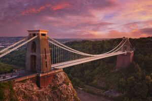 Clifton Suspension Bridge at sunset, Clifton Downs, Bristol, England, United Kingdom