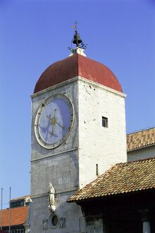 The clock tower on the 15th century Town Hall, Trogir, UNESCO World Heritage Site