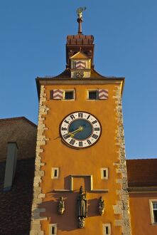 Clock tower on the end of the famous stone bridge, Regensburg, UNESCO World Heritage Site