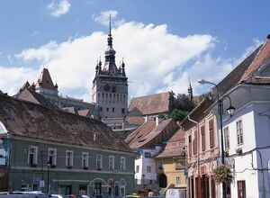 Clock tower, on old town citadel, from Piata Hermann Oberth, Sighisoara