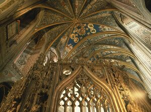 Close-up of the ceiling in the interior of the cathedral at Albi, Midi-Pyrenees