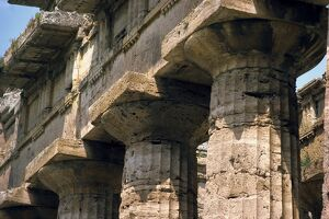 Close-up of the columns of the Temple of Neptune at Paestum