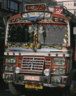 Close-up of a decorated bus