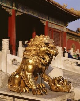 Close-up of lion statue, Imperial Palace, Forbidden City, Beijing, China, Asia
