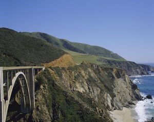 The coast and Bixby Bridge on the Pacific Highway