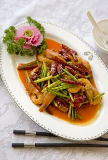 Colorful and spicy Sichuan cuisine dishes use both red and green chili peppers