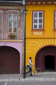 Detail of colourfully painted houses in medieval citadel town, Sighisoara