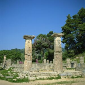 Columns and ruins of the Temple of Zeus at Olympia