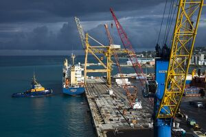 Container ship in Bridgetown, Barbados, West Indies, Caribbean, Central America
