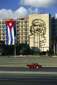 Cuban flag outside the Ministerio del Interior at Plaza de la Revolucion