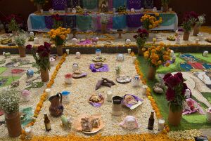 Decorations for the Day of the Dead festival, Plaza Principal, San Miguel de Allende
