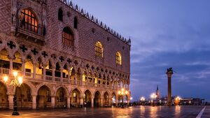 The deserted St. Mark's Square in the early morning, Venice, UNESCO World Heritage Site