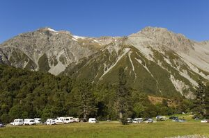 A designated campsite in Aoraki (Mount Cook) National Park