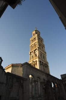 Diocletians Palace Roman ruins, cathedral tower, Old Town, Split, Dalmatia Coast