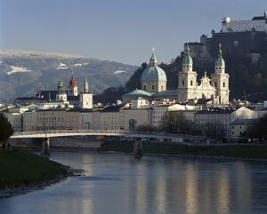 Domes of the cathedral and Kollegienkirche and the Salzach River, Salzburg