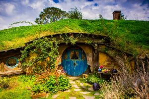 Front door of a Hobbit House, Hobbiton, North Island, New Zealand, Pacific