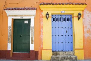 Doors in Old Walled City District, Cartagena City, Bolivar State, Colombia, South America
