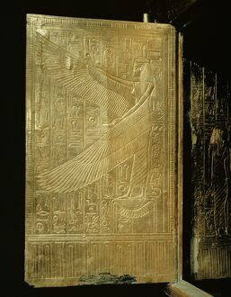 One of the double doors of the gilt shrine showing the goddess Isis, from the tomb of the pharaoh Tutankhamun, discovered in the Valley of the Kings, Thebes, Egypt, North