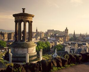 The Dugald Stewart Monument and view over Princes St