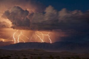 Electrical storm with forked lightning over the Grapevine mountains of the Amargosa Range