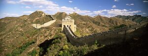 Elevated panoramic view of the Jinshanling section of the Great Wall of China
