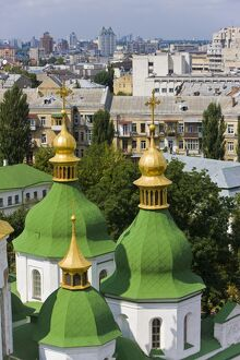 Elevated view of the green roof and gold domes of St. Sophia Cathedral