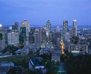 Elevated view of the Montreal city skyline, Montreal, Quebec, Canada, North America