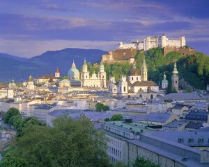 Elevated view of the old city, Kollegienkirche and Cathedral domes, Salzburg
