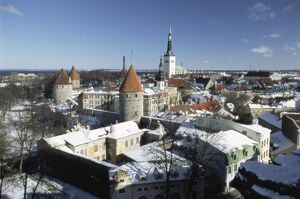 Elevated winter view from Toompea in the Old Town, Tallinn, UNESCO World Heritage Site