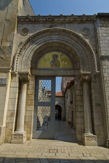 Entrance to the 6th century Euphrasian Basilica, UNESCO World Heritage Site, Porec, Istria, Croatia,