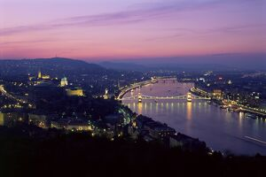 Evening view over city and River Danube