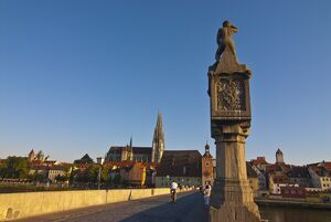 The famous stone bridge, Regensburg, Bavaria, Germany, Europe