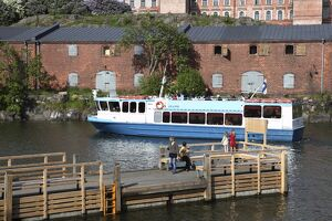 Ferry from Helsinki with Museum and Visitors Centre in the background, Suomenlinna Island