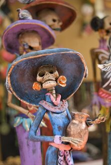 Detail of figurines on sale for the Day of the Dead celebration, San Miguel de Allende