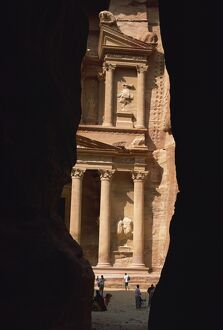 First view of Petra at the end of the Siq entrance gorge