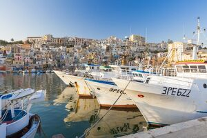 Fishing boats moored in the harbour surrounded by blue sea and the old town, Sciacca