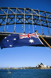 Flag, Sydney Harbour Bridge and Opera House, Sydney, New South Wales, Australia