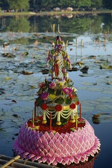 Floating floral decoration at the Loy Kratong festival in Sukhothai
