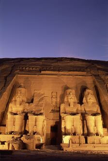 Floodlit temple facade and colossi of Ramses II (Ramesses the Great), Abu Simbel