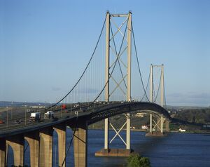 The Forth Road Bridge, built in 1964, Firth of Forth, Scotland, United Kingdom, Europe