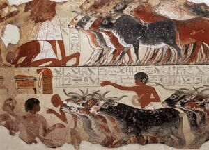 Fragment of a tomb painting dating from around 1400 BC from Thebes, Egypt