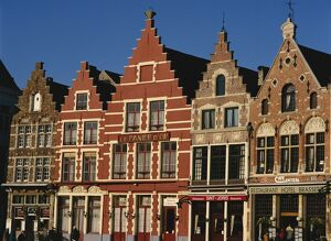 Gabled buildings around the Markt, or Market Square, in the medieval town of Bruges