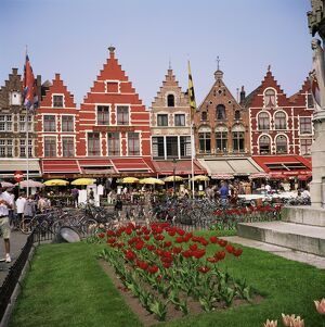 Gabled buildings and restaurants, Bruges, Belgium, Europe