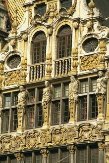 Gilded facade of Guild House, Grand Place, UNESCO World Heritage Site, Brussels