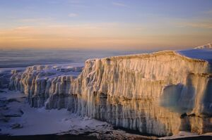 Glacier at sunrise on summit of Mount Kibo, 5895m, Killimanjaro National Park