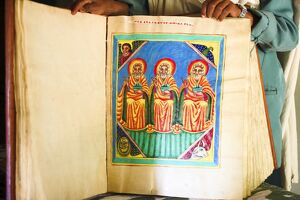 Goatskin manuscript said to be 2000 years old, church of Abuna Aftse, on site of a 6th century church, Yeha, Aksum,