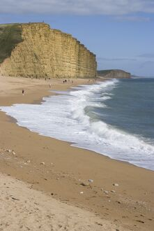 Golden Cliff and beach at West Bay near Bridport, Dorset, Jurassic Coast